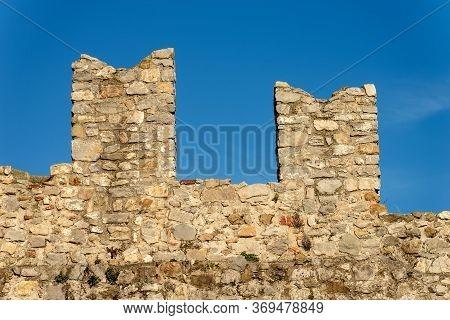 Close-up Of The Battlements Of The San Giorgio Castle (castello San Giorgio) 1265-xix Century, Genoa