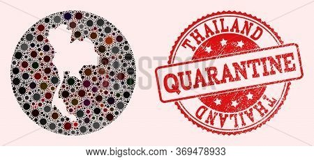 Vector Map Of Thailand Collage Of Coronavirus And Red Grunge Quarantine Seal Stamp. Infection Cells