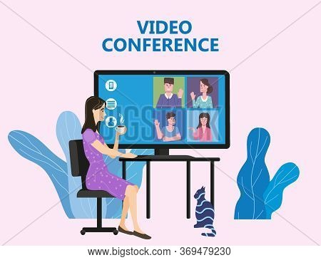 Woman Worked From Home Video Conference People On Computer Screen Laptop Talking By Internet In Vide