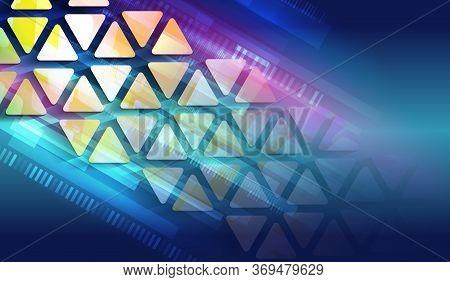 Modern Hi-tech Vector Illustration. Technology Communication Concept. Futuristic Blue Background Wit