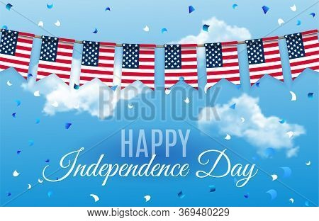 Festive Template Design For Happy Independence Day July Fourth . 4 July Usa Patriotic Bunting, Color