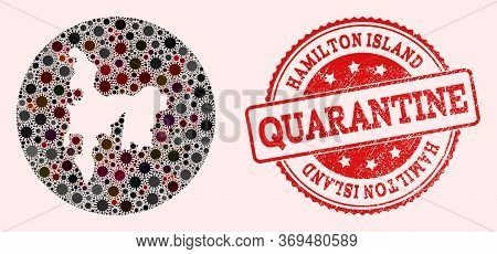 Vector Map Of Hamilton Island Collage Of Covid-2019 Virus And Red Grunge Quarantine Seal Stamp. Infe