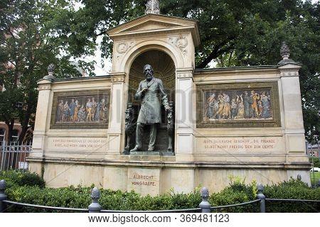 Berlin, Germany - September 17 : Denkmal Albrecht Von Graefe Monument At Schumannstrasse Road For Ge