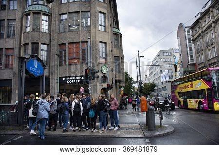 German People And Foreigner Passengers Walking Up And Down At Kochstrasse U Bahn Metro Railway Stati