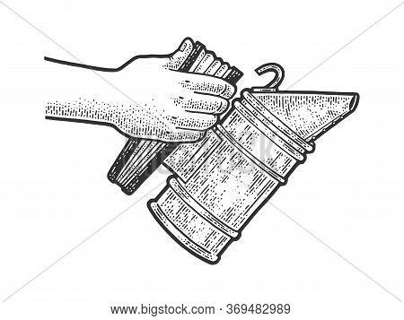 Bee Smoker Sketch Engraving Vector Illustration. T-shirt Apparel Print Design. Scratch Board Imitati