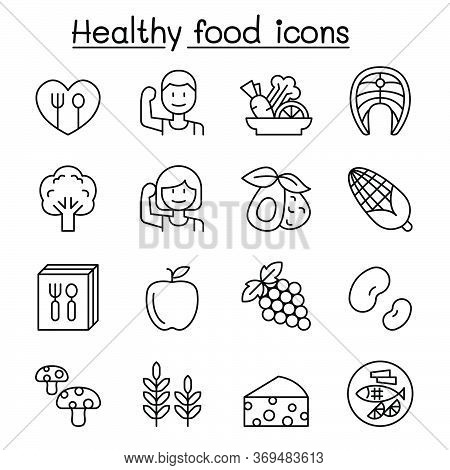Healthy Food Icon Set In Thin Line Style Vector Illustration Graphic Design