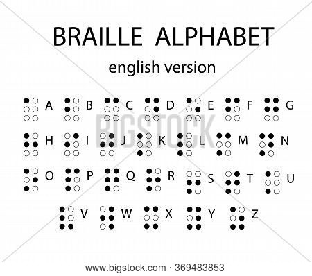 Braille Alphabet Letters. Alphabet For The Blind. Tactile Writing System Used By People Who Are Blin