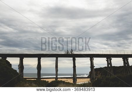 Silhouette Photos Of Bicycle Riders On Kilcunda Bourne Creek Trestle Pbridge Ion An Overcast Day N G