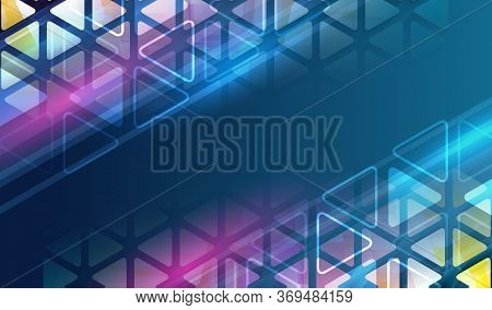 Futuristic Blue Background With Triangle. Modern Hi-tech Vector Illustration. Technology Communicati