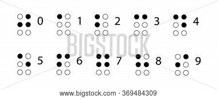 Braille Numbers. Reading For The Blind. Tactile Writing System Used By People Who Are Blind Or Visua