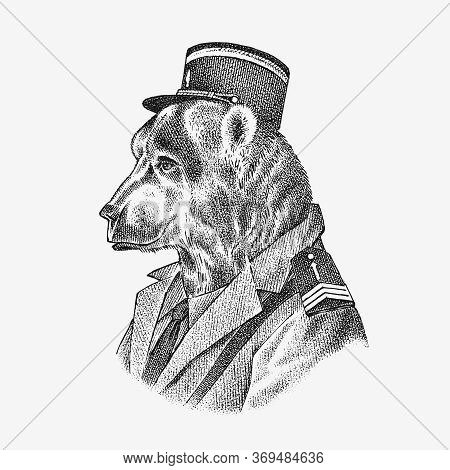Bear In Military Style. Animal Dressed In Security. Fashion Character Label. Hand Drawn Sketch. Vect