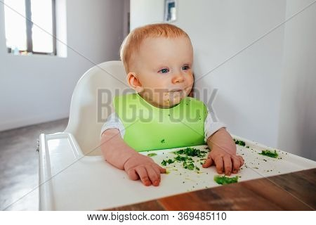 Portrait Of Dirty Baby Girl Sitting On Highchair At Dining Table. Little Child Starting Eating By He