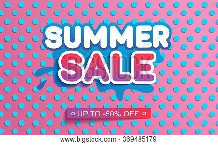 Summer Sale Banner With Blue Dote On Pink Background. Trendy Summer Promotion Template With Letterin
