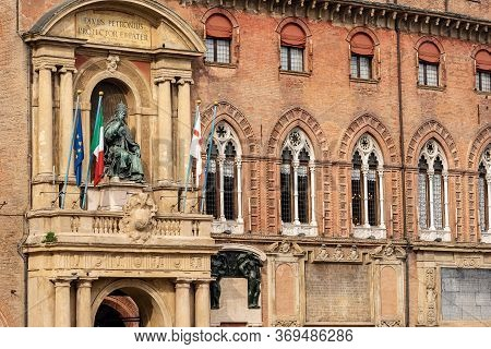 Bologna City Hall, Ancient Accursio Palace, Xiii Century, With The Statue Of Pope Gregorio Xiii And