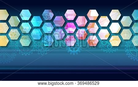 Futuristic Blue Background With Hexagons And Cogwheels. Modern Hi-tech Illustration. Sci-fi Technolo