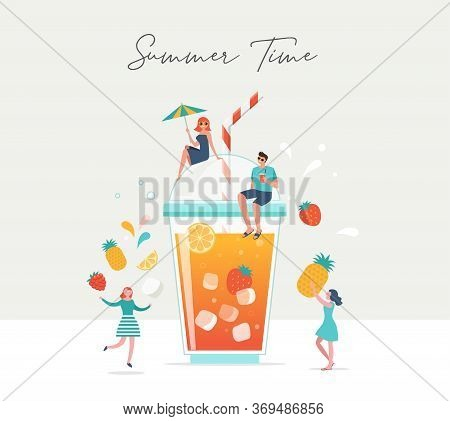 Summer Scene, Group Of People, Family And Friends Having Fun Around A Huge Glass Of Juice, Fruit Smo