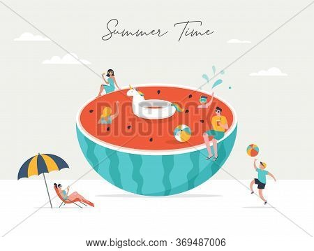Summer Scene, Group Of People Having Fun Around A Huge Watermellon, Surfing, Swimming In The Pool, D