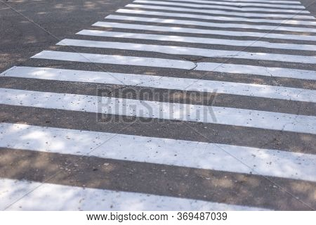 White Lines Of A Pedestrian Crossing. Road Safety. Crossing Transition, Zebra, Danger On The Road, A