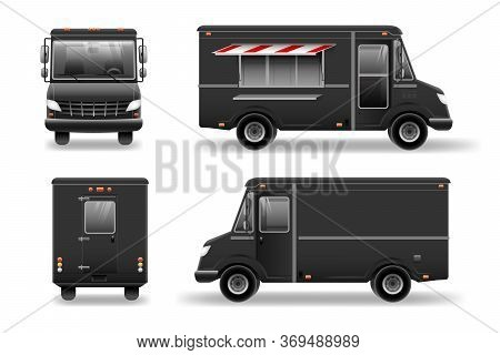 Black Food Truck Hi-detailed Vector Template For Mock Up Brand Identity. Food Truck Vector Template