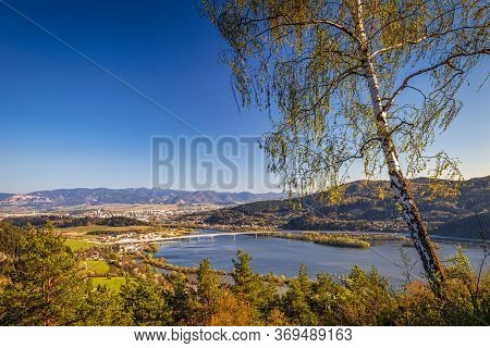 Top View Of The Zilina Basin And The Hricov Dam On The Vah River, Slovakia, Europe.