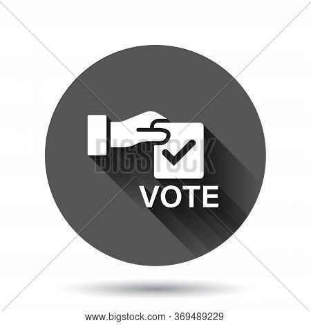 Vote Icon In Flat Style. Ballot Box Vector Illustration On Black Round Background With Long Shadow E