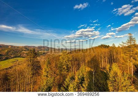 Mountainous Landscape Of The Kysuce Region In Northwestern Slovakia. View From The Lookout Tower On