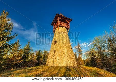 Lookout Tower On Bobovec Hill Above The Village Of Stara Bystrica, Slovakia, Europe.