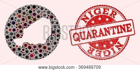 Vector Map Of Niger Collage Of Flu Virus And Red Grunge Quarantine Seal. Infection Cells Around The