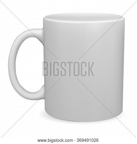 White Mug Mockup. Isolated Vector Coffee Cup Blank. 3d Template Of Classic Tea Cup. Photorealistic P