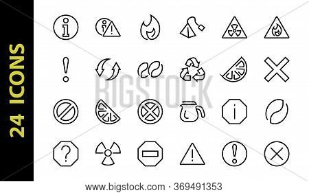 A Simple Set Of Warnings, Thin Vector Lines. Contains Icons Such As A Warning, Exclamation Mark, Reu