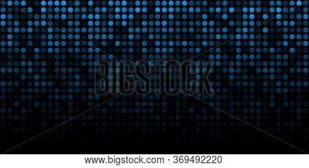 Abstract Blue Technology Horizontal Luminous Background. Gradient Blue Digital Glow Pixel Circle Tex