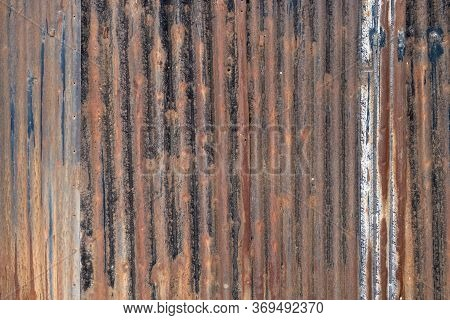 Rusty Galvanized Wall Texture Background. Metal Panel Sheeting.