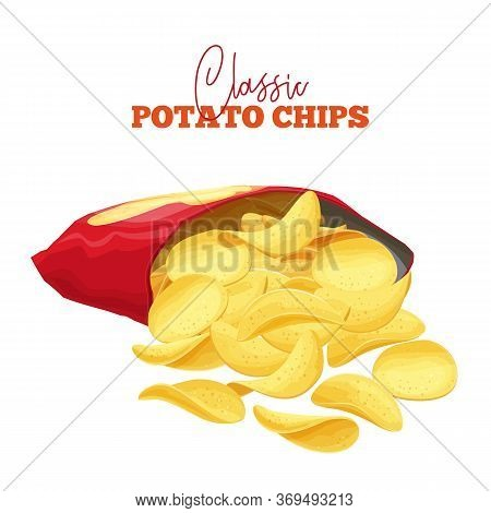 A Bunch Of Potato Chips Spilled Out Of The Package. Crispy Snack, Potato In The Form Of Crispy Plate