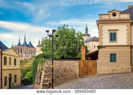 Historic Houses In The Center Of Kutna Hora In The Czech Republic, Europe.