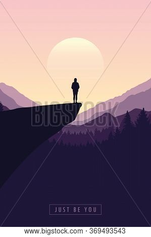 Just Be You Hiking Adventure Girl On A Cliff In At Sunrise With Mountain View Vector Illustration Ep