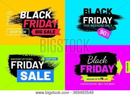 Black Friday Sale Promotion Banner Set. Weekend Discount Proposition. Internet Advertising Layouts.