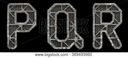 Mechanical alphabet made from rivet metal with gears on black background. Set of letters P, Q, R. 3D rendering