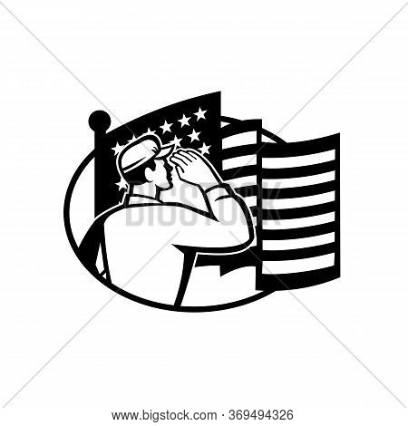 Black And White Illustration Of An American Soldier Serviceman Saluting Usa Stars And Stripes Flag V