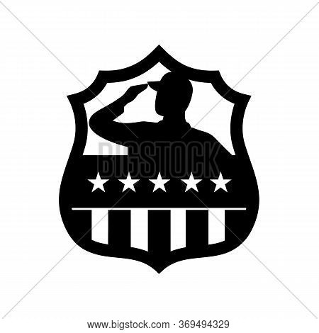 Black And White Retro Style Illustration Of Silhouette Of An American Veteran Soldier Saluting Usa S