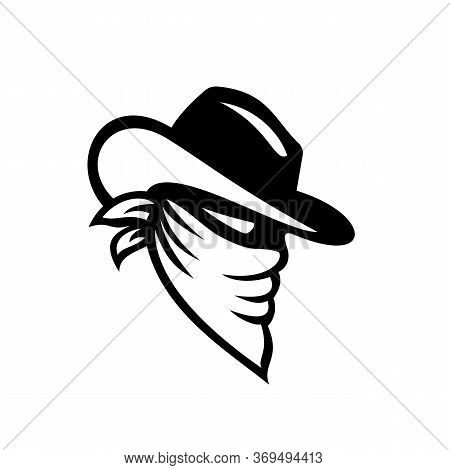 Icon Style Illustration Of A Cowboy Bandit, Robber Or Outlaw Wearing Face Mask Covered By Bandana Or