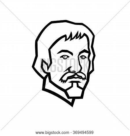 Mascot Black And White Illustration Of Head Of Michelangelo Merisi Da Caravaggio, An Italian Painter