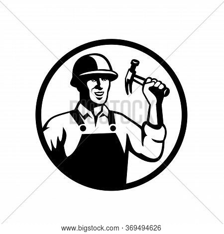 Black And White Illustration Of A Carpenter, Construction Worker, Handyman, Tradesman Or Laborer Hol