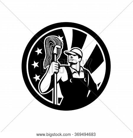 Icon Retro Style Illustration Of An American Professional Industrial Cleaner Or Cleaning Services Wo