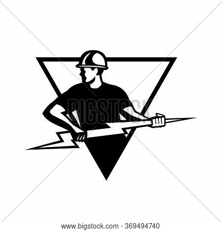 Retro Black And White Style Illustration Of A Power Lineman Or Electrician Holding A Lightning Bolt