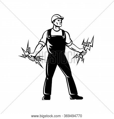 Mascot Icon Illustration Of An Electrician, Lineworker Or Power Lineman Holding A Bunch Of Lightning