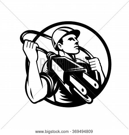 Black And White Illustration Of An Electrician, Power Lineman Or Construction Worker Holding An Elec