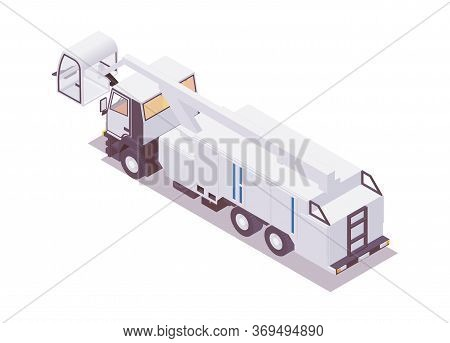 Isometric 3d Deicer, Anti-icing Vehicle Parked. Back View