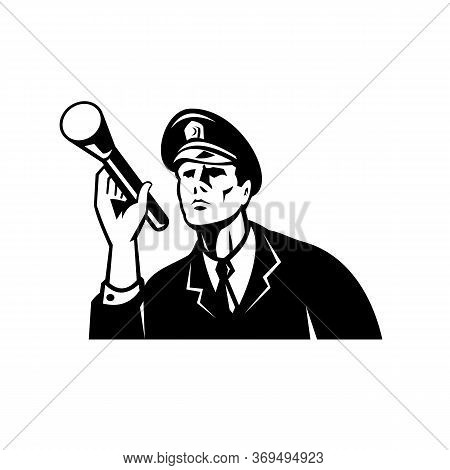 Illustration Of A Law Enforcement Police Officer Policeman Security Guard Holding A Flashlight Or To
