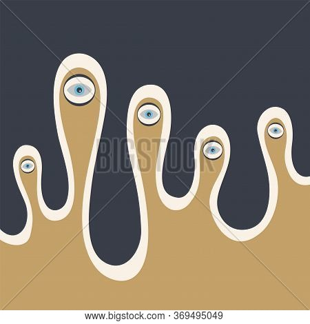 Surreal Artwork With Eyes, Abstract Creature. Flat Style. Template For Card, Poster, Flyer. Vector C