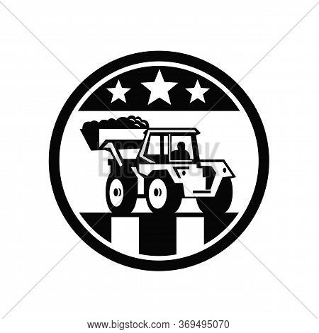 Icon Retro Style Illustration Of Vintage Mechanical Digger Excavator With Usa American Stars And Str
